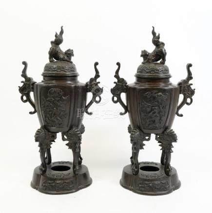 A pair of 19th century Japanese bronze censers, Meiji,