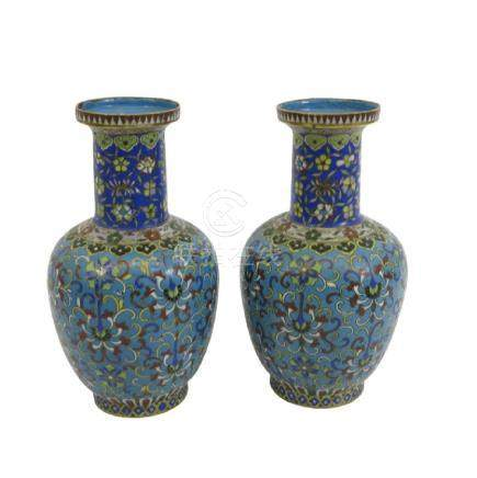A pair of Chinese cloisonne vases, shouldered form,