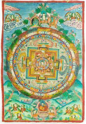 An Oriental painting, concentric bands of foliate