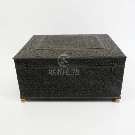 A 19th century Anglo Indian ebony and bone carved box,