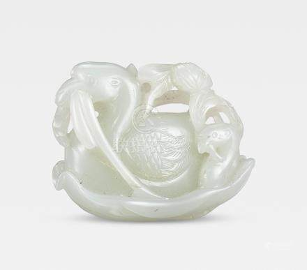 A pale green jade 'geese and lotus' group 18th century