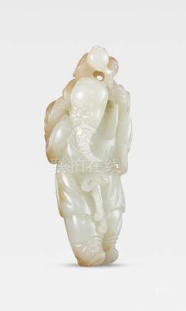 A white and russet jade figure of Shoulao 18th/19th century (2)