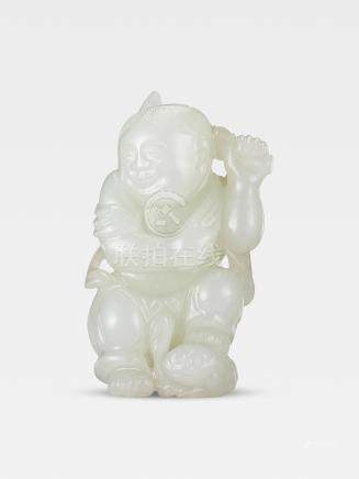 A white jade carving of Liu Hai and the three-legged toad Mid Qing Dynasty (2)