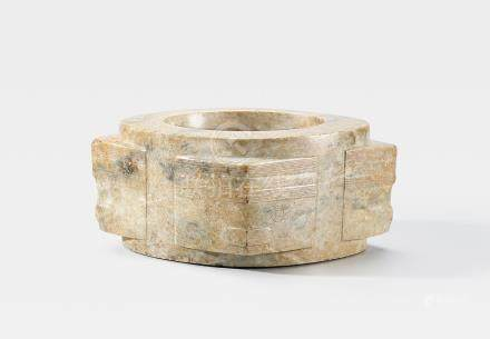 A rare archaic mottled-green jade vessel, cong Neolithic, Liangzhu Culture (2)