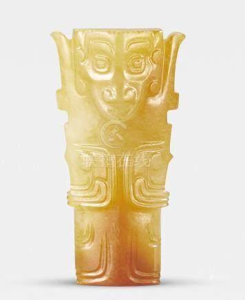 A rare archaic yellowish-green jade 'humanoid figure' pendant Western Zhou Dynasty (2)