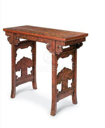 A rare Imperial qiangjin and polychrome lacquer 'dragons' side-table Kangxi