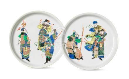 A rare pair of famille verte 'Water Margin' dishes Wenxin Zhai mark, Kangxi (2)