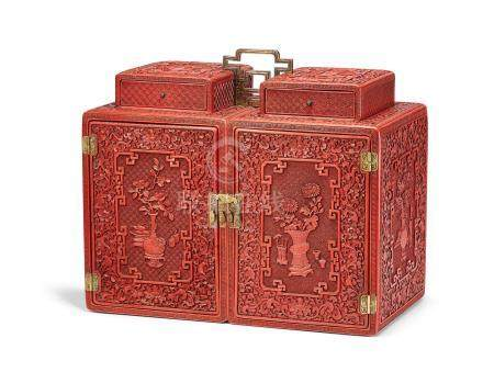 A rare Imperial carved cinnabar lacquer cabinet Qianlong