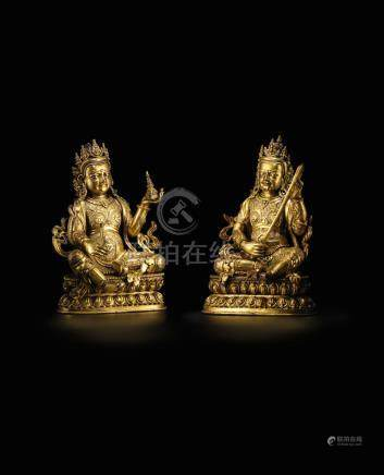 An exceptionally rare pair of gilt-bronze figures of Virupaksa, Western Guardian and Virudhaka, Southern Guardian Ming Dynasty (4)