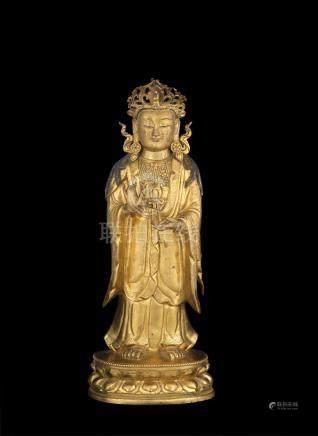 A very rare and fine gilt-bronze figure of Maitreya 17th/18th century