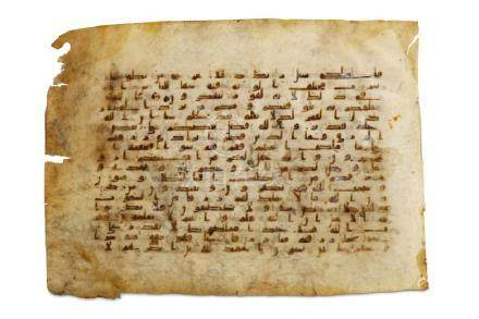 A LOOSE KUFIC QUR'AN FOLIO Near East or North Africa,