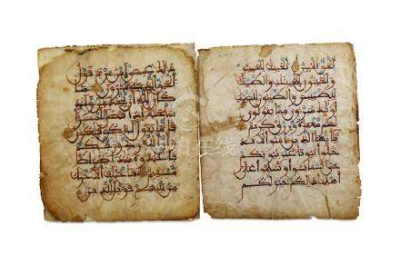 THREE QUR'AN FOLIOS Andalusia or North Africa, 14th -