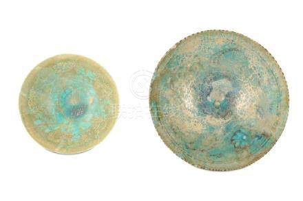 TWO TURQUOISE-GLAZED KASHAN POTTERY BOWLS Iran, 12th -