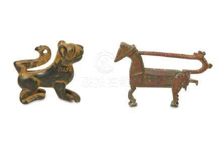 TWO BRONZE ANIMAL FIGURINES Iran, 12th - 13th century