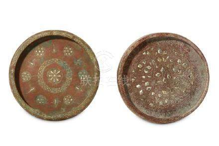 TWO SMALL SILVER-INLAID BRONZE DISHES Iran, 12th - 13th