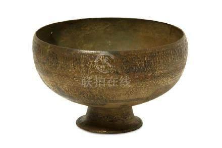 A BLACK ENAMELLED BRASS BOWL Iran, 12th - 13th century