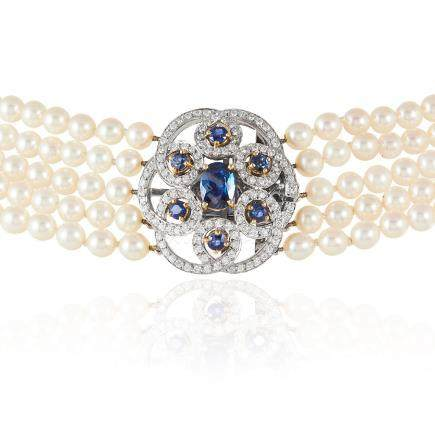 A PEARL, SAPPHIRE AND DIAMOND CHOKER NECKLACE, E WOLFE