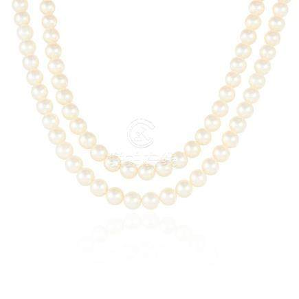A PEARL AND DIAMOND TWO ROW NECKLACE in 18ct white