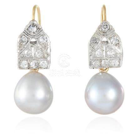 A PAIR OF ART DECO PEARL AND DIAMOND EARRINGS in 18ct