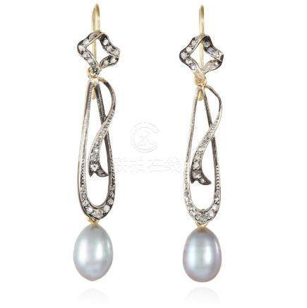 A PAIR OF ART NOUVEAU PEARL AND DIAMOND EARRINGS in