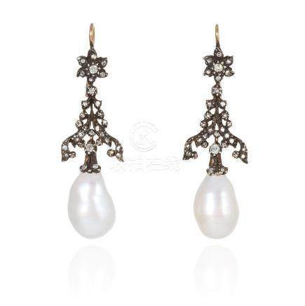 A PAIR OF ANTIQUE PEARL AND DIAMOND EARRINGS in yellow