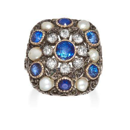 AN ANTIQUE SAPPHIRE, PEARL AND DIAMOND RING in yellow