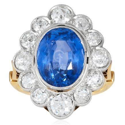 A CEYLON NO HEAT SAPPHIRE AND DIAMOND RING in high