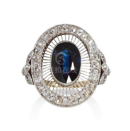 AN ART DECO SAPPHIRE AND DIAMOND DRESS RING in yellow