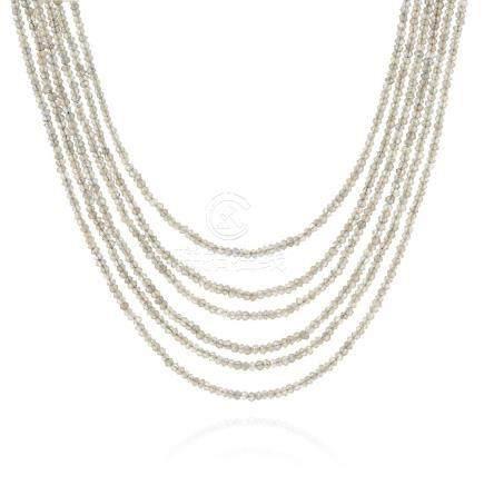 A LABRADORITE BEAD NECKLACE comprising of six strands