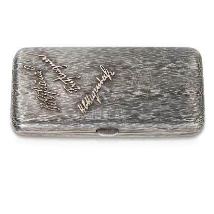 AN ANTIQUE SILVER CIGARETTE CASE, GERMAN the rounded
