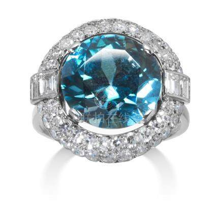 AN ART DECO ZIRCON AND DIAMOND DRESS RING in white gold