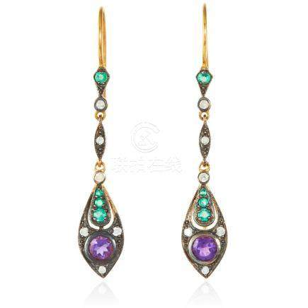 A PAIR OF AMETHYST, EMERALD AND DIAMOND EARRINGS in