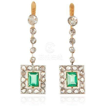 A PAIR OF ART DECO GREEN STONE AND DIAMOND EARRINGS in