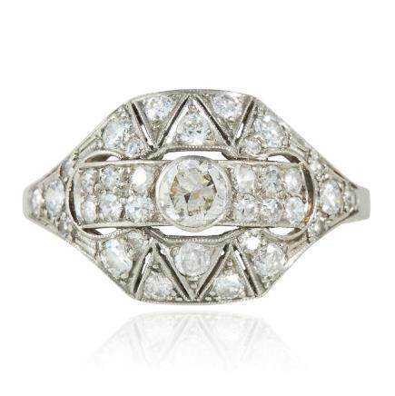 A DIAMOND DRESS RING in platinum or white gold, the