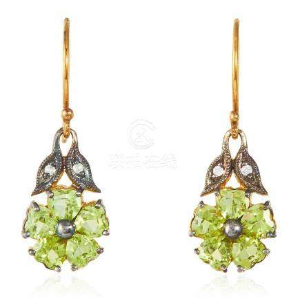 A PAIR OF PERIDOT AND DIAMOND EARRINGS in silver and