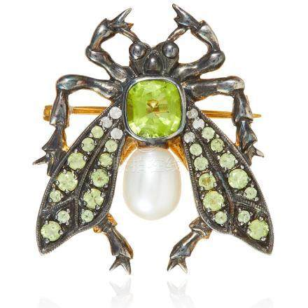 A PERIDOT, PEARL AND DIAMOND INSECT BROOCH designed as