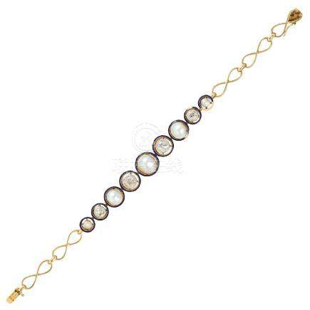 AN ART DECO NATURAL PEARL, DIAMOND AND ENAMEL BRACELET