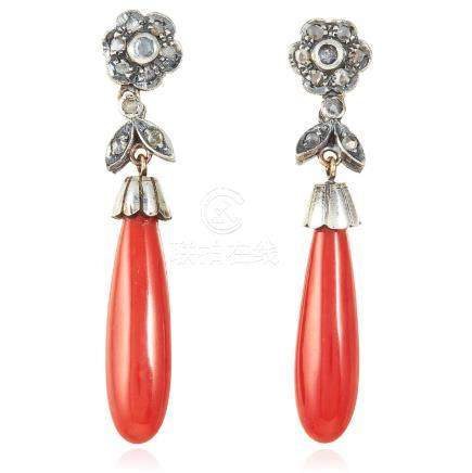 A PAIR OF ANTIQUE CORAL AND DIAMOND EARRINGS in yellow