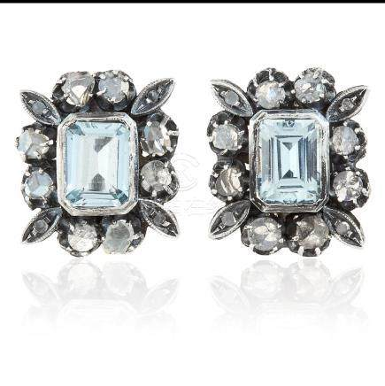 A PAIR OF AQUAMARINE AND DIAMOND EARRINGS in yellow