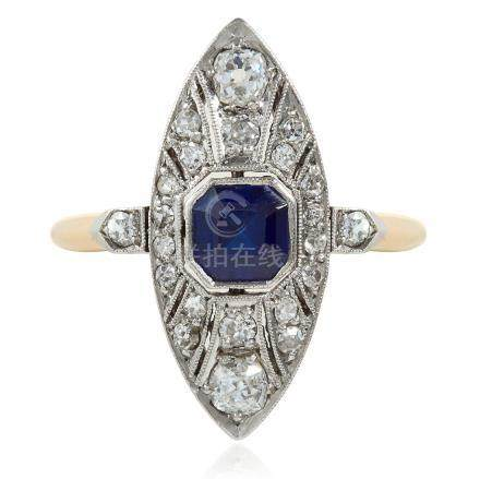 AN ART DECO SAPPHIRE AND DIAMOND RING in 18ct yellow