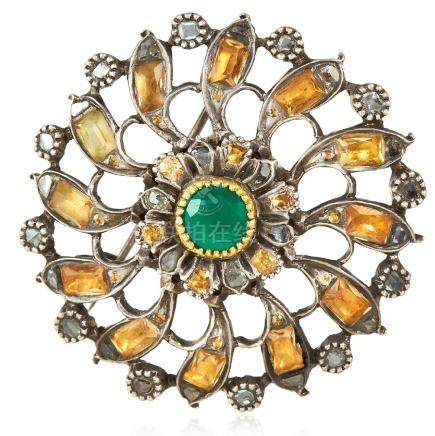 A CHRYSOPRASE, FOILED PASTE AND DIAMOND BROOCH, 19TH