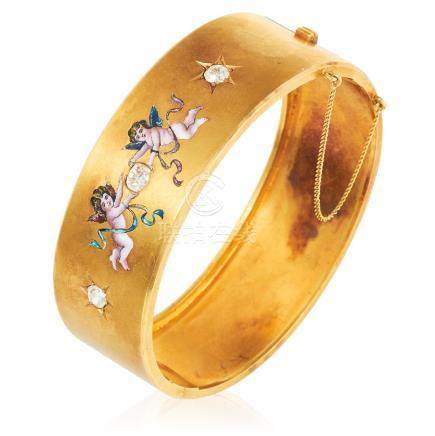 AN ANTIQUE DIAMOND AND ENAMEL BANGLE, FRENCH MID 19TH
