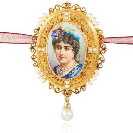 AN ANTIQUE ENAMEL, DIAMOND AND NATURAL PEARL PORTRAIT