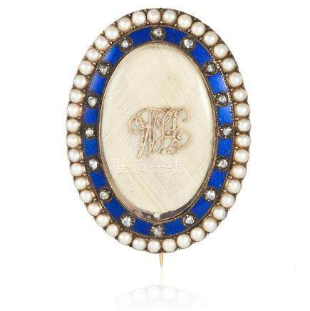 AN ANTIQUE PEARL, DIAMOND HAIRWORK AND ENAMEL MOURNING