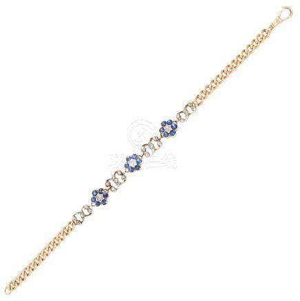 AN ANTIQUE SAPPHIRE AND DIAMOND BRACELET in 14ct yellow