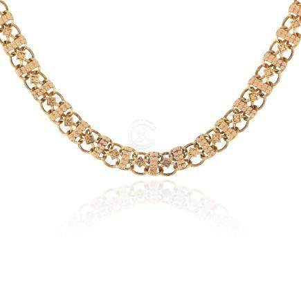 A GOLD FANCY LINK NECKLACE in yellow gold, the fancy