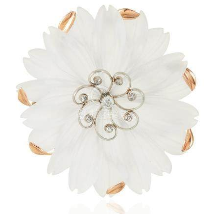 A DIAMOND AND ROCK CRYSTAL FLOWER BROOCH in high carat
