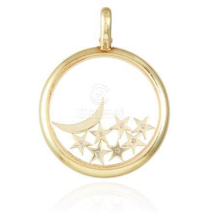 A DIAMOND MOON AND STARS PENDANT in 14ct yellow gold,