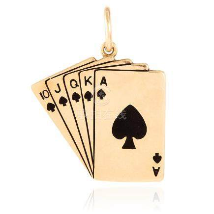 AN ENAMEL PACK OF CARDS PENDANT in 14ct yellow gold,