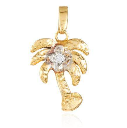 A DIAMOND PALM TREE PENDANT in 14K yellow gold,